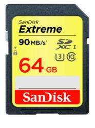 SanDisk Extreme SDXC 64 GB 90MB/s Class 10 UHS-I U3